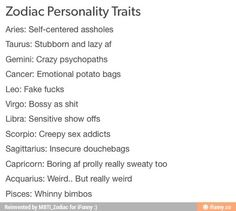 Zodiac personality traits