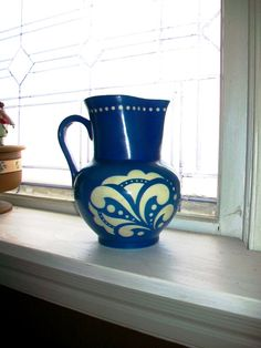 Art+Deco+Pitcher+Blue+and+White+Ditmar+Urbach+by+RedRiverAntiques,+$42.00