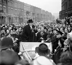 Sir Winston Churchill speaking on Blythe Road, Hammersmith, London, when he embarked on an eve of poll campaign to address the crowds on behalf of the Conservatives 1949 Great Man Theory, Homburg, Uk Politics, National Photography, Winston Churchill, Canvas Prints, Art Prints, House In The Woods, London England