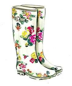 Gorgeous floral wellies for spring showers...see how they were illustrated on my blog!  #wellingtons #wellies #howto #illustration