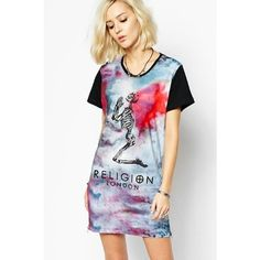 LUCLUC Skull Printed Scoop Short Sleeve Dress ($22) ❤ liked on Polyvore