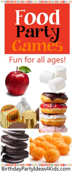 Food Party Games!  Fun games to play with food - apples, marshmallows, wrapped candies, doughnuts, cookies and cheese balls!   Great games for kids, tweens, teens and adults!  http://birthdaypartyideas4kids.com/food-party-games.html
