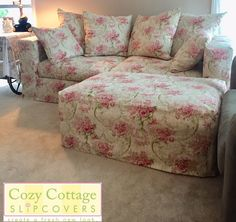 Cozy Cottage Slipcovers Custom Slipcovers, Lavender Sachets, Romantic Roses, Cozy Cottage, Floral Fabric, Pink Roses, Ottoman, Cushions, Inspiration