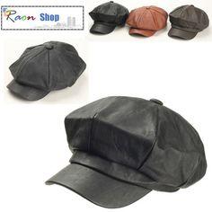 8 Panel Gatsby Hat Black Light Wash Leather Design Newsboy Flat Cap Baker Boy | eBay