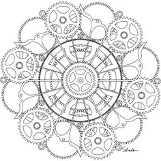 Gears / Steampunk Mandala To Color Mandala Coloring Pages, Colouring Pages, Adult Coloring Pages, Coloring Sheets, Coloring Books, Steampunk Drawing, Zentangle Patterns, Zentangles, Mandala Art