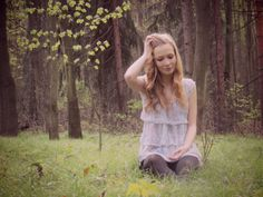 #outfit #fashion #forest #girl #curlyhair #grass #ruffles #chiffontop #blacktights