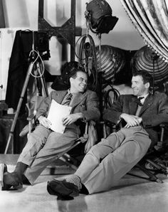 Frank Capra with Jimmy Stewart on the set of It's a Wonderful Life