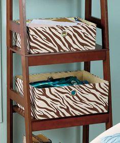 Safari Storage Bin Baskets Organize 2 Giraffe Or Zebra Print; $18.95