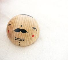 wooden moustache brooch  hand painted Signor Baffo. $19.00, via Etsy.