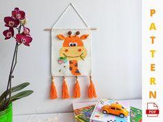 Wall Hanging Giraffe Crochet Pattern Hanging Crochet Nursery | Etsy Crochet Motifs, C2c Crochet, Crochet Hooks, Crochet Patterns, Giraffe Crochet, Crochet Unicorn, Just Love, Crochet Kitchen, D 20