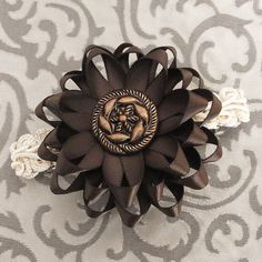 Chocolate Brown Flower Clip - Flower Barrette