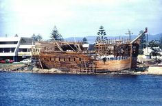 HMS Buffalo under construction at Glenelg late 70's to early 80's. Full scale replica.