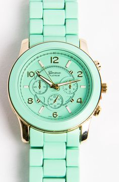 mint + gold watch