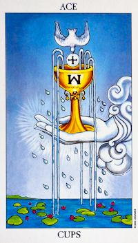Ace of Cups shows a hand holding a cup or chalice that is overflowing with five streams of water. The hand that appears from the clouds represents our consciousness of spiritual energy and influence. Radiating from the hand are rays which symbolises that you must always trust your inner feelings and your heart to lead the way. This is your intuition and inner power talking to you...