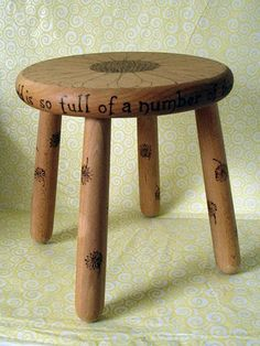 Pyrography decorated Wooden Stool