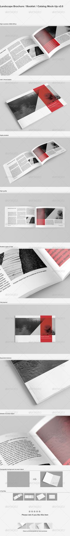 Brochure / Catalog MockUp — Photoshop PSD #landscape #realistic • Available here → https://graphicriver.net/item/brochure-catalog-mockup/1583241?ref=pxcr