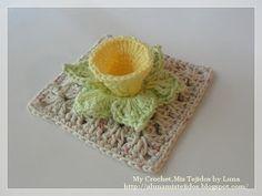 My Crochet , Mis Tejidos: Daffodil - Granny with Daffodil Flower for The Sibol Group and Tutorial / Cuadrito de la abuela con una flor daffodil.