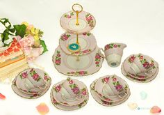 14 piece - Pink & Roses pattern China TEA SET by Colclough Stunning Set including 3 Tier Stand, 4 Trios and Creamer. by FlyingSquirrelNest on Etsy 3 Tier Cake Stand, Tiered Stand, Pink And White Background, Tea Sets Vintage, China Tea Sets, Vintage China, Bone China, Pink Roses, 1940s