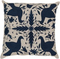 Surya Oatmeal/Midnight Blue Bird Pillow #modish #newitems