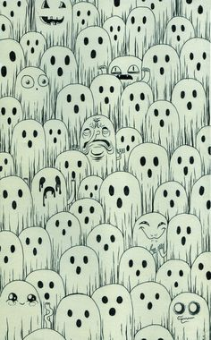 A spool of spooky scary silly ghosts. Most look normal but the few silly ghosts are what makes this illustration interesting. Done with pen.