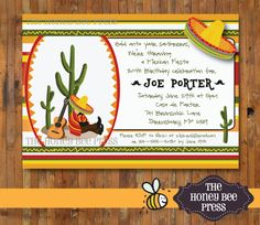 Mexican Fiesta Invitation ... Great birthday party invitation for adults ... by The Honey Bee Press