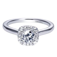 14k White Gold Diamond Halo Engagement Ring - this looks like a half carat stone - love a halo with a plain shank - possible reset idea for my original engagement ring diamond?