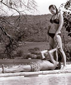 "Romy Schneider and Alain Delon in ""La Piscine"" (The Swimming Pool) by Jacques Deray Romy Schneider, Alain Delon, Hollywood Glamour, Old Hollywood, Black White Photos, Black And White, Divas, Photo D Art, Catherine Zeta Jones"