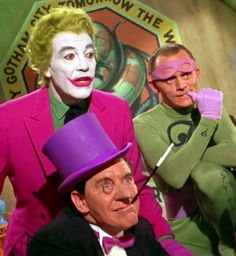 Cesar Romero (Joker), Burgess Meredith (Penguin), and Frank Gorshin (Riddler) in the 1966 Batman Film. Batman Y Robin, Batman 1966, Batman Cast, Superman, Adam West Batman, Real Batman, Gotham Batman, Batman Stuff, Batman Tv Show