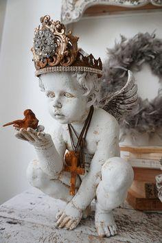 Cherub angel statue holding bird French Santos rusty handmade crown distressed angelic figure French farmhouse home decor anita spero design