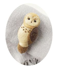 Broche de fieltro buho marrón Animal bosque por Whimsylandia