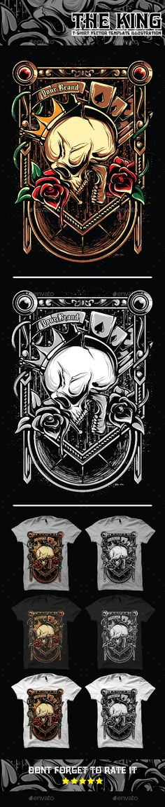 The King Skull Art Illustration Tshirt #Template - #Designs #T-Shirts Download here: https://graphicriver.net/item/the-king-skull-art-illustration-tshirt-template/12048304?ref=alena994
