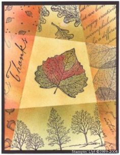 Autumn Leaf Retiform by Sam - Cards and Paper Crafts at Splitcoaststampers Daydream Medallions, Leaf Cards, Autumn Cards, Card Making Techniques, Thanksgiving Cards, Card Tutorials, Pretty Cards, Masculine Cards, Color Card