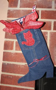 Red Cat Denim Christmas Stocking Western by RowesFlyingNeedles