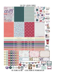 Free Printable Cozy Weekend Sampler Planner Stickers {PDF, JPG and Studio3.  For The Happy Planner and Erin Condren} from myplannerenvy.com