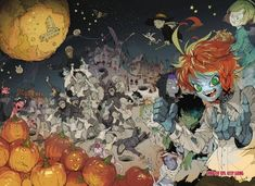 The Promised Neverland Color Pages from WSJ PART 2 - Imgur Anime Halloween, Halloween Art, Happy Halloween, Bg Design, Twitter Image, Precious Children, Hd Backgrounds, Neverland, Kawaii Anime