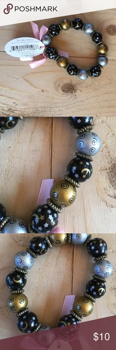 Stretch painted beads bracelet Black and painted stretch bracelet beads Jewelry Bracelets