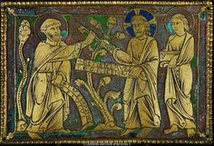Saint Peter receives the keys from Christ. Enamel plaque from a reliquiary or altar from England ( ca.1180-1185)