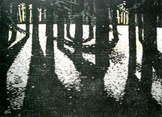 Shadowed: woodblock print by Rose Hirano