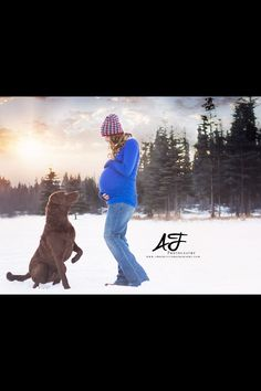 Maternity photo, dog, Chesapeake bay retriever, winter, snow, Alaska, outside, hat