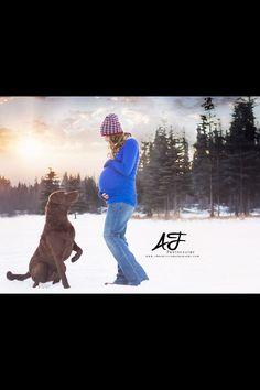 Maternity photo, dog, Chesapeake bay retriever, winter, snow, Alaska, outside, hat