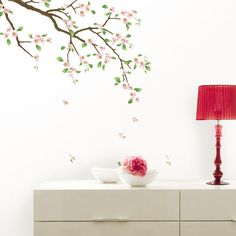 fashion willow branch and birds pattern pvc tv background