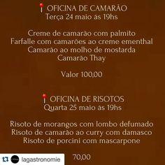 OFICINAS DA SEMANA @lagastronomie . As inscrições podem ser realizadas através do n. 9.9958-0426 (temos whats). #Risoto #receita #gastronomia #oficinagastronomica #cursodeculinaria #Natal #RN by rituaisdaboamesa http://ift.tt/1XQzDer