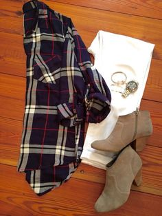 @stitchfix stylist:plaid + white jeans + booties. Love this look!