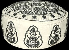WHITE-XL-26-HAND-EMBROIDERY-OTTOMAN-POUF-STOOL-COVER-Pouffe-Moroccan-INDIA-Art