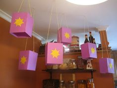 """Lanterns for a """"tangled""""(rapunzel) party Rapunzel Birthday Party, Tangled Party, Disney Princess Party, 4th Birthday Parties, 3rd Birthday, Birthday Ideas, Bolo Rapunzel, Tangled Rapunzel, Party Decoration"""