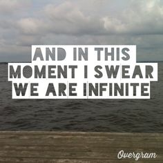 And in this moment I swear we are infinite