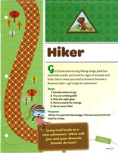 Brownie: Hiker Badge, Front Page