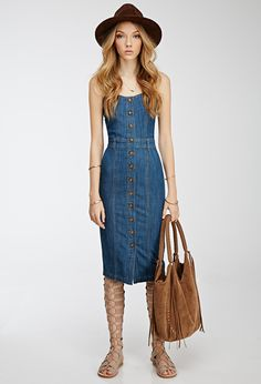 Button-Down Denim Dress | FOREVER21 - 2000097986