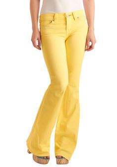Made You Look Jeans by Dittos - Long, Casual, Statement, Yellow, Solid, 70s, Urban, Spring, Denim