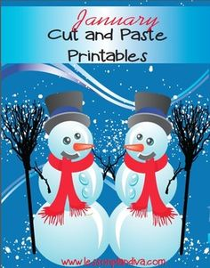 January Cut and Paste Printables$